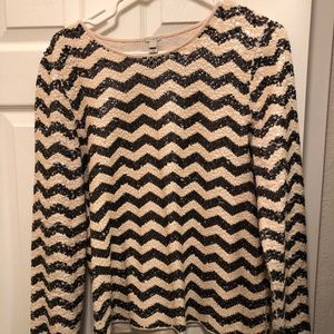 J. Crew Chevron Sequin Shirt, L